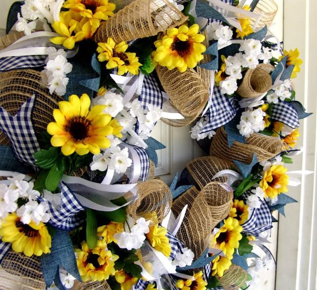 Sunflower Home Decor: Weekend FLASH SALE Sunflower Wreath, Summer, Front Door