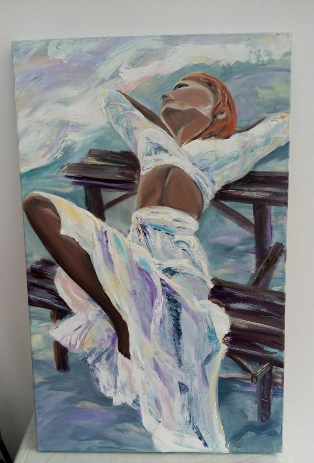 Genial A Girl On The Bench 50x80 Cm Original Acrylic Painting Romantic Sunset On  The Beach Wall Art For Interior Unique Gift Bedroom Decor #2748927    Weddbook