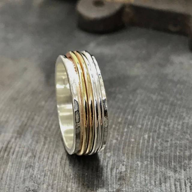 Multi Band Spin Ring Silver Worry Ring Narrow Spinner Ring