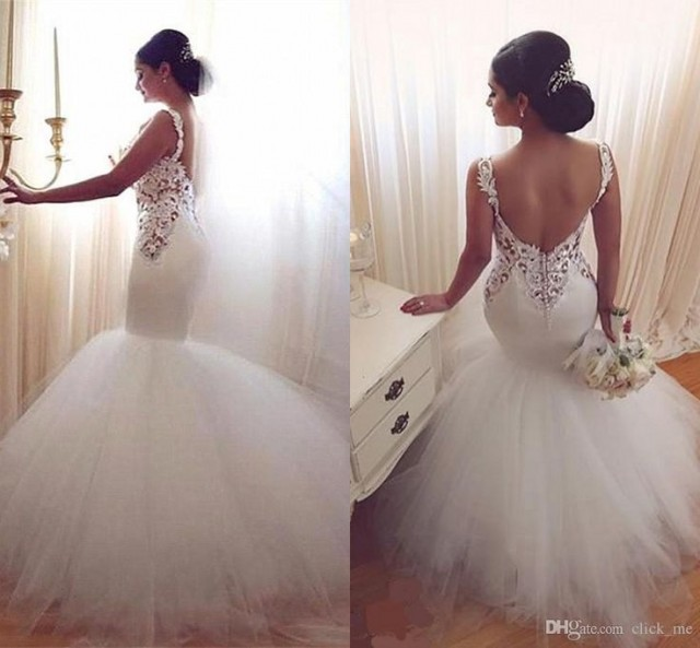c334e11aa1d Cheap New Mermaid Wedding Dresses 2016 Sexy Long Sleeves Lace Appliques Beaded  Sheer Back Plus Size Court Train Custom Wedding Dress Bridal Gowns As Low  As ...