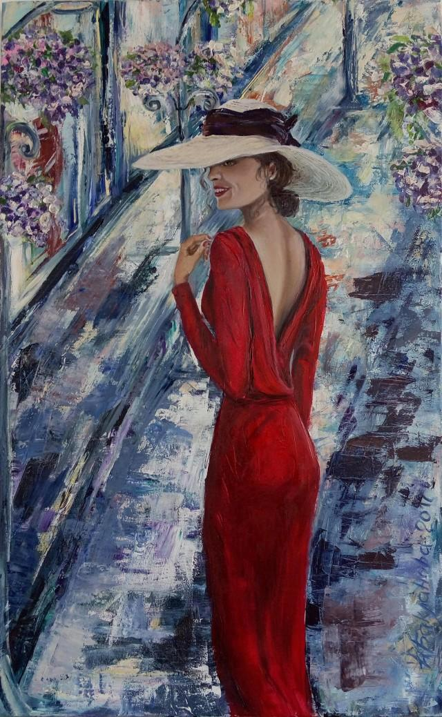 Lady In Red 50x80 Cm Original Mixed Painting 2017 Living