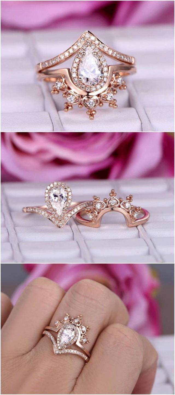 2pcs Brilliant Moissanite Ring Sets/Diamond Engagement Ring In 14k ...