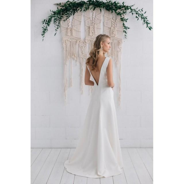 Simple Wedding Dresses Open Back: Simple Wedding Dress Ivory Satin Dress Bridal Gown,Open