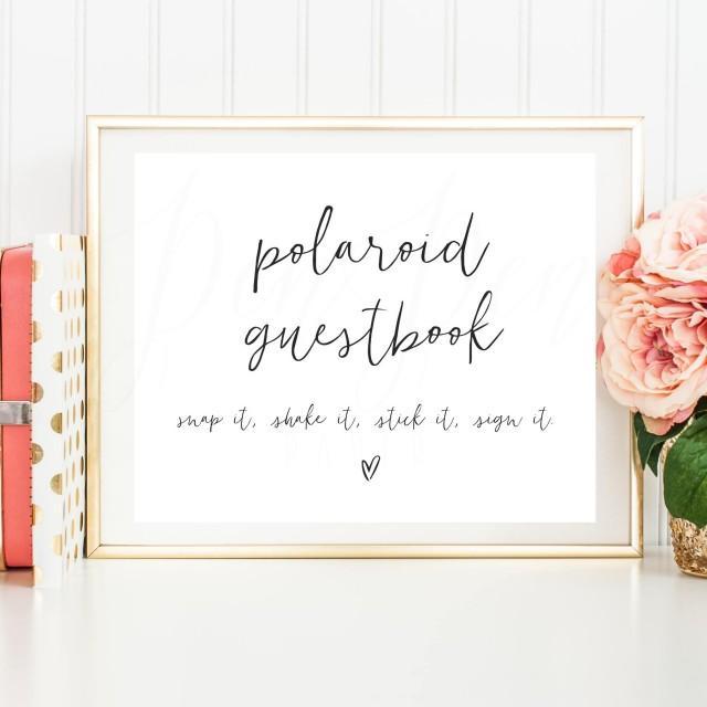 Polaroid Guest Book Station: Polaroid Guestbook Sign, Polaroid Wedding Guest Book
