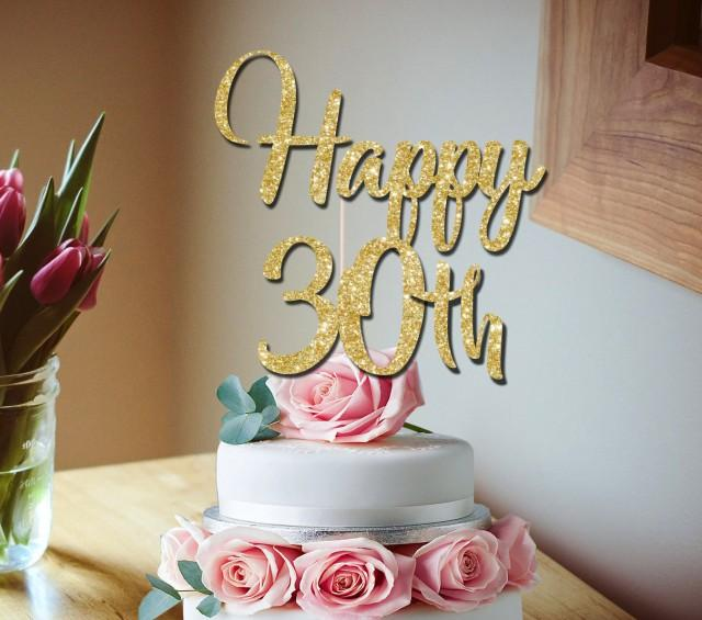 30th Cake Topper Happy Glitter Birthday Party Decoration 2772140