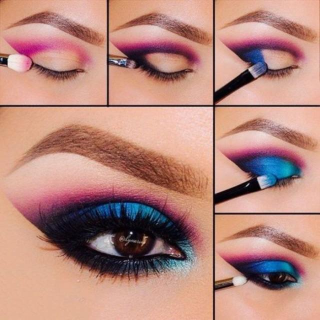 Eye makeup for blue eyes step by step