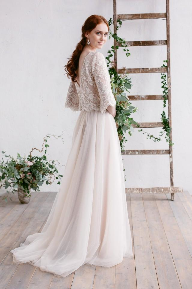 1df9561be2ddb Wedding Dress, Bohemian Wedding Dress, Two Piece Dress, Bridal ...