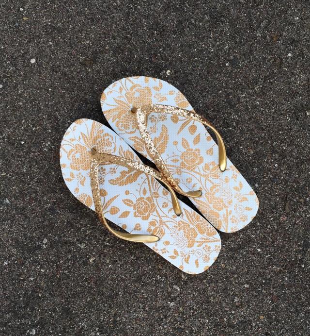 Gold Flip Flops,Bridesmaid Gift,Wedding Shoes,Reception