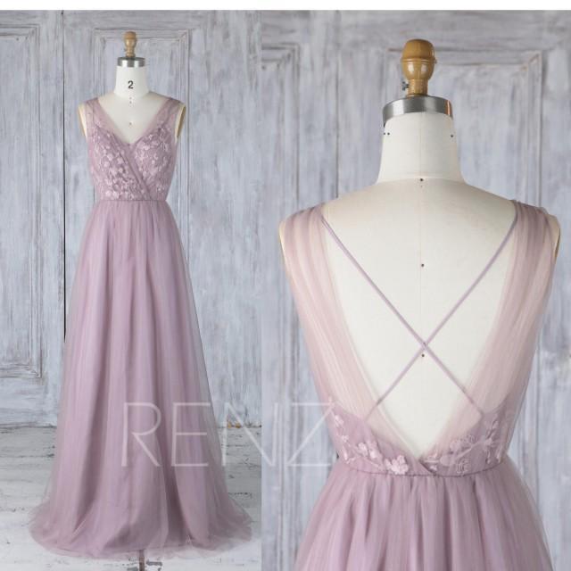 852c66b9c9f Bridesmaid Dress Dark Mauve Tulle V Neck Illusion Lace Wedding Dress ...