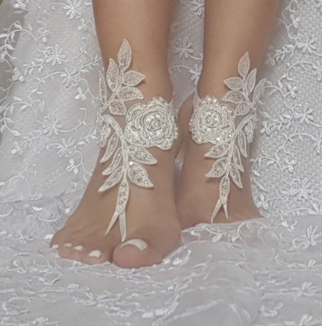 Free Ship Ivory Barefoot Sandals French Lace Nude Shoes Gothic Wedding Sandals  Beaded Pearl Beach Wedding Shoe Bridal Shoes  2785066 - Weddbook a9b0fbe4fe27