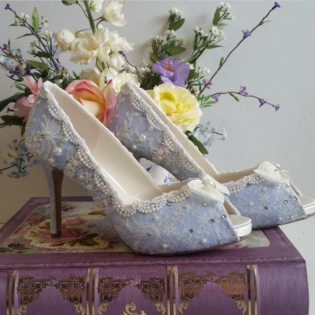 b980e0e7df5c Something Blue Bridal Shoes .. Blue Lacy Wedding Shoes .. Comfortable High  Heels.. Vintage Lace Bridal Shoes ..  2790032 - Weddbook