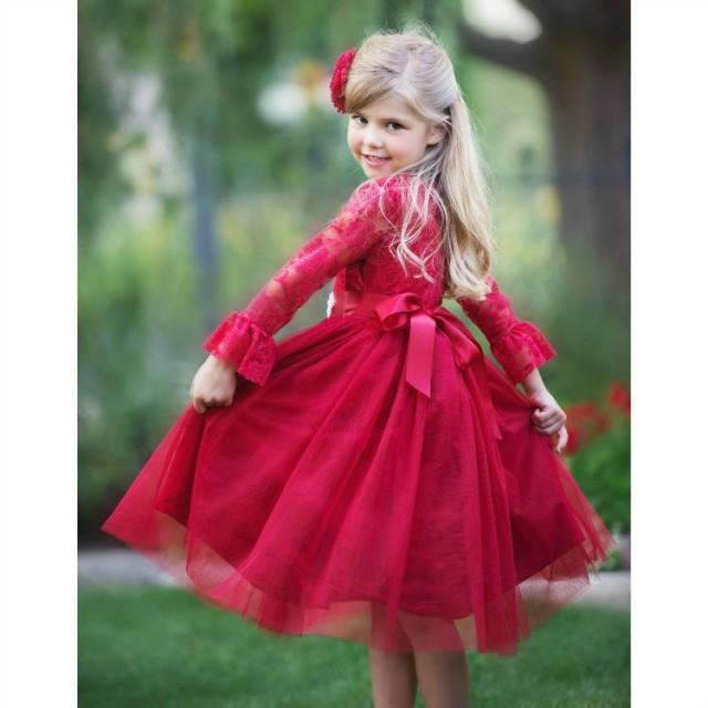 9243a979a845 Lace Flower Girl Dress, Red Tulle Lace Flower Girl Dress, Flower Girl  Dresses, Long Sleeve Dress, Toddler, Rustic, Baby Girl Christmas Dress  #2791699 - ...