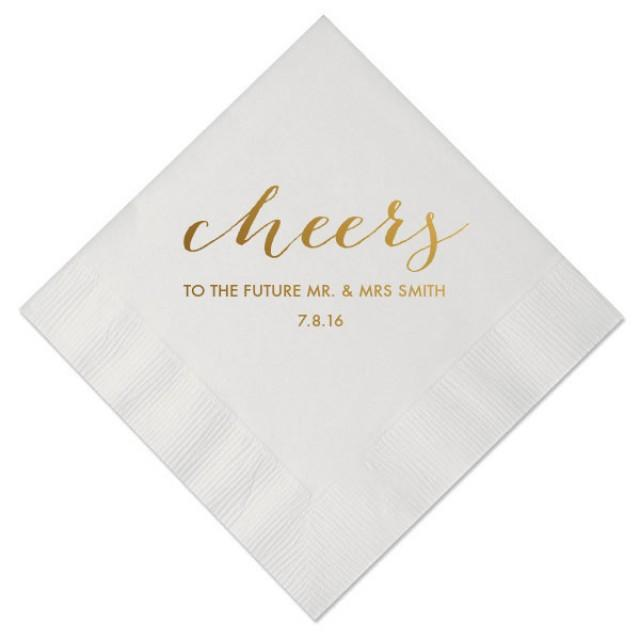 Cheers To The Future Mr And Mrs Personalized Wedding Napkins Bridal Shower Rehearsal Dinner Engagement Party 2792139 Weddbook