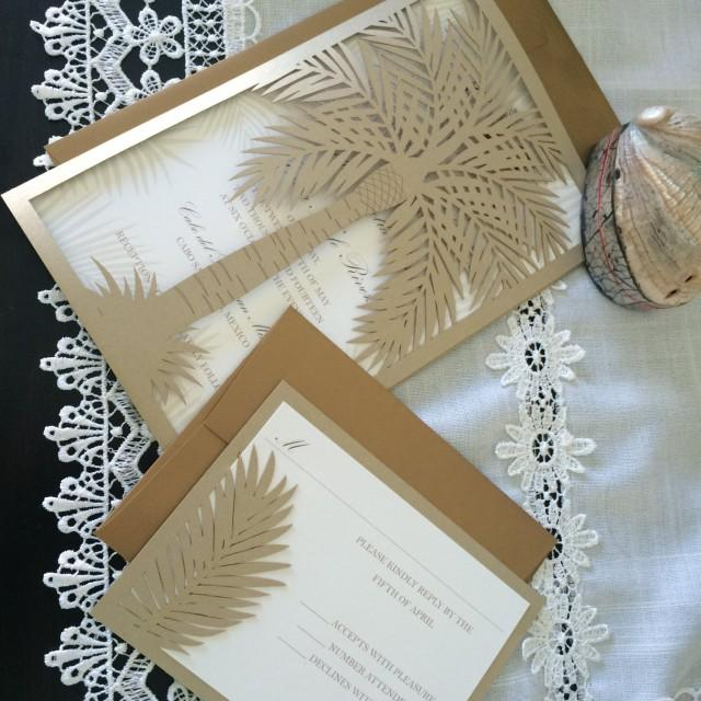 custom laser cut wedding invitation  palm tree tropical destination wedding  2793184