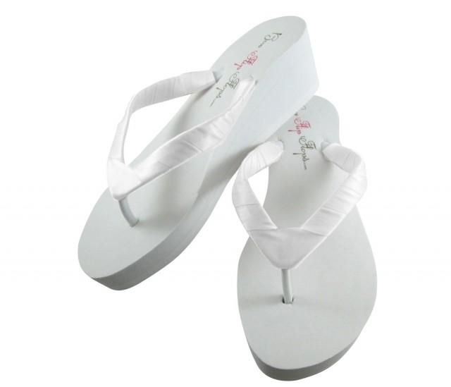 Bridal Flip Flops Wedding Bridal Sandals Wedges Platform Heel Bride Flip Flops Ivory Flip Flops White Plain Custom Wedding Shoes 2793725