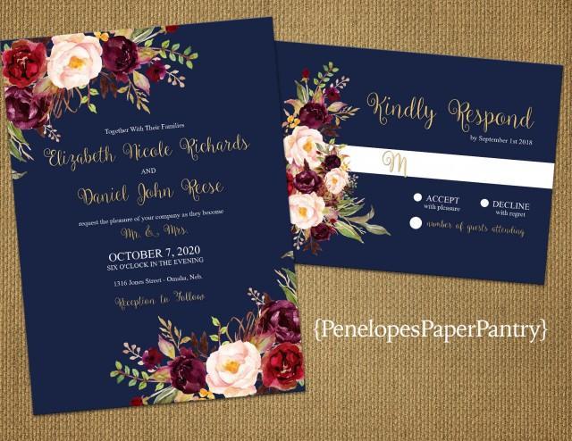 Romantic Navy Fall Wedding Invitation Navy Blue Burgundy