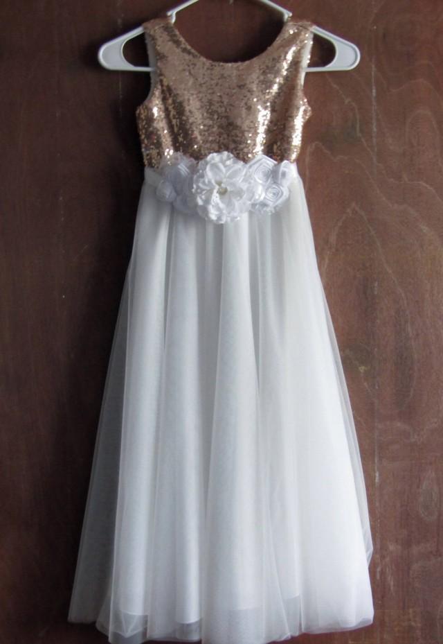White Flower Girl Dress Rose Gold Sequin Flower Girl Dress