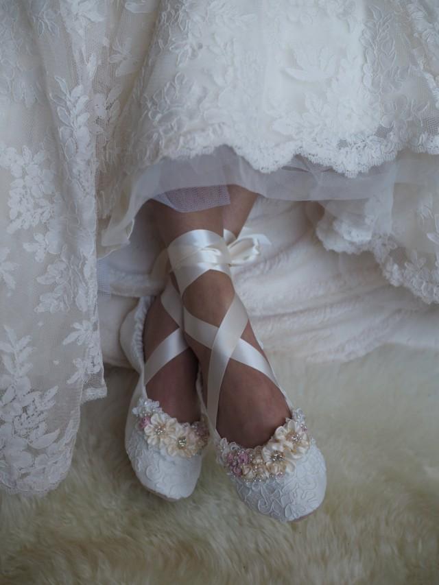 9e2f1c629e82c 24 + Blush Princess Bridal Ballet Shoes Blush Rose Ballerina Wedding ...