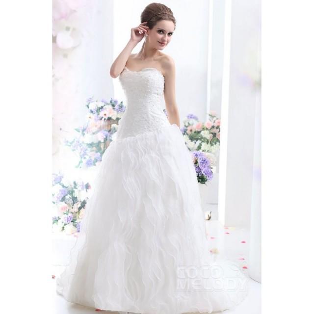 Trendy A Line Sweetheart Court Train Ruffled Organza Lace Up Corset Wedding Dress Cwlt13006 Top Designer Wedding Online Shop 2801129 Weddbook,Sparkly Glitter Ball Gown Wedding Dress
