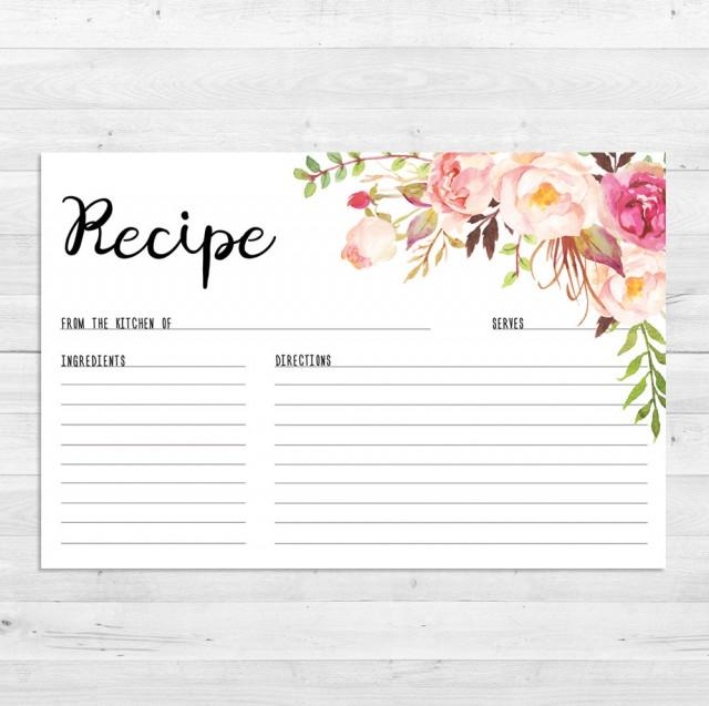 recipe cards  bridal shower  boho recipe card  watercolor