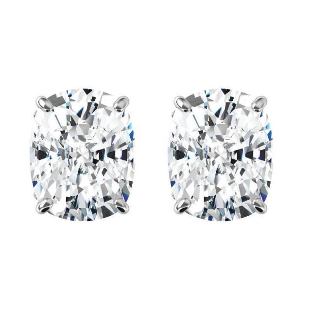 a81dc1981 10 Carats Tw. Elongated Cushion Harro Gem Moissanite Stud Earrings 14k  White Gold, 5.00 Carat Each, Moissanite Earrings 11x9mm, Anniversary -  $6250.00 USD ...