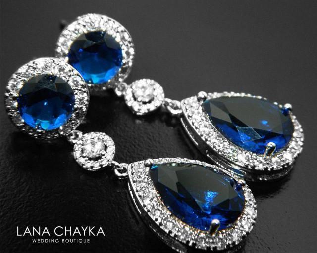 Navy Blue Teardrop Bridal Earrings Cz Chandelier Wedding Royal Halo Silver Dark Dangle Earring Studs 33 90 Usd