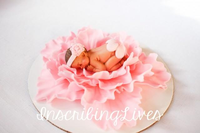Baby Shower Cake Topper Girl Pink Peony 3d Figures Edible