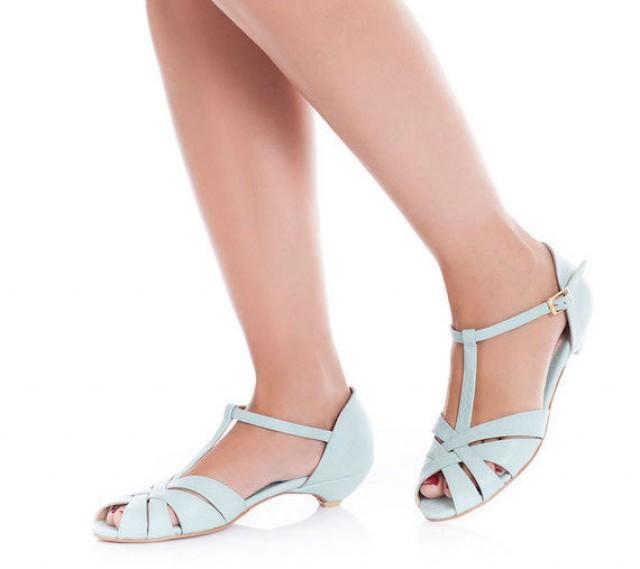 Light blue wedding shoes low heel
