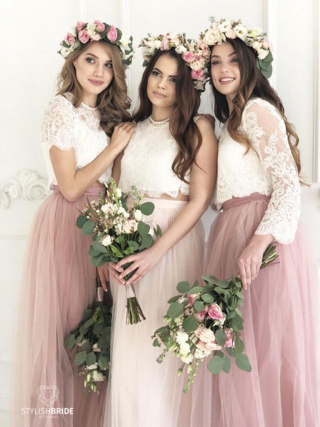 Blush Palette Bridesmaids Lace Dress Long Blush