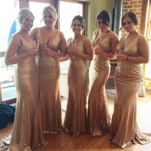 Rose Gold Bridesmaid Dress Sequin Bridesmaid Dress Long Sequin