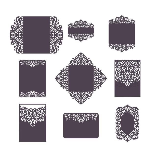 set laser cut wedding invitation templates card    envelope
