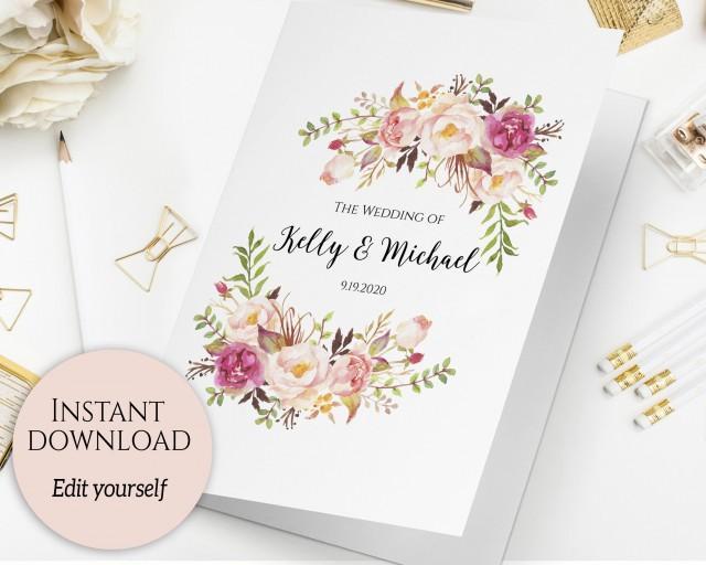 Folded Wedding Program Template Folded Ceremony Template Printable - Editable wedding program templates