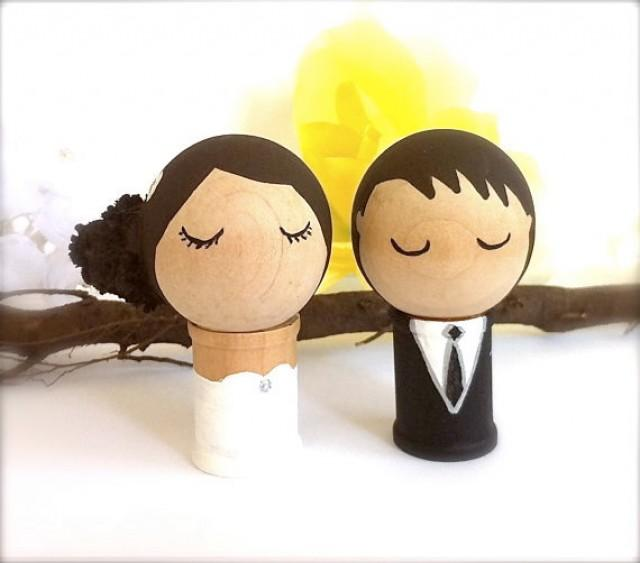WEDDING CAKE TOPPER Bride And Groom Custom Kokeshi Dolls Cupcake ...