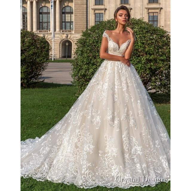 Cream Wedding Gown: Crystal Design 2018 Steffani Cream Chapel Train Sweet