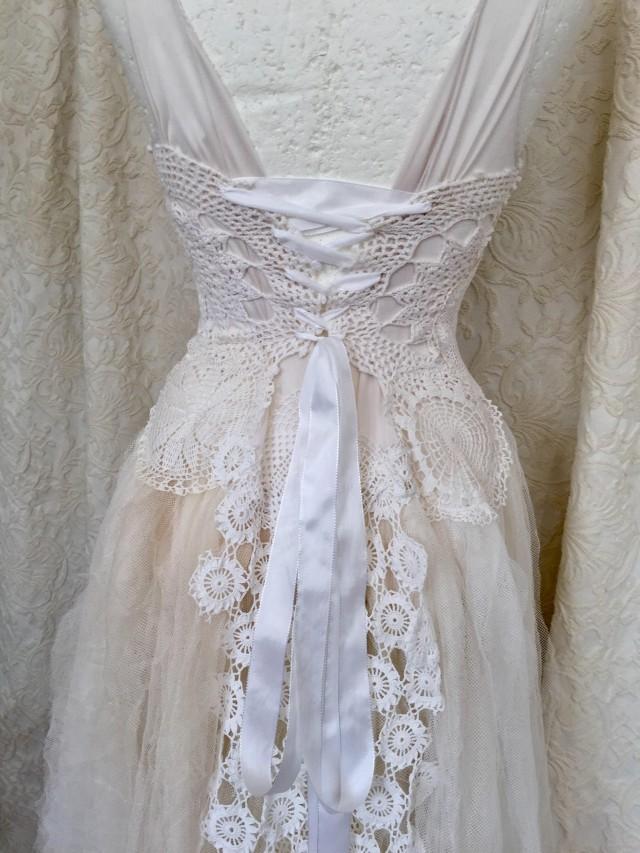 Wedding Dress Steampunk Boho Wedding Dress White Crochet Bridal