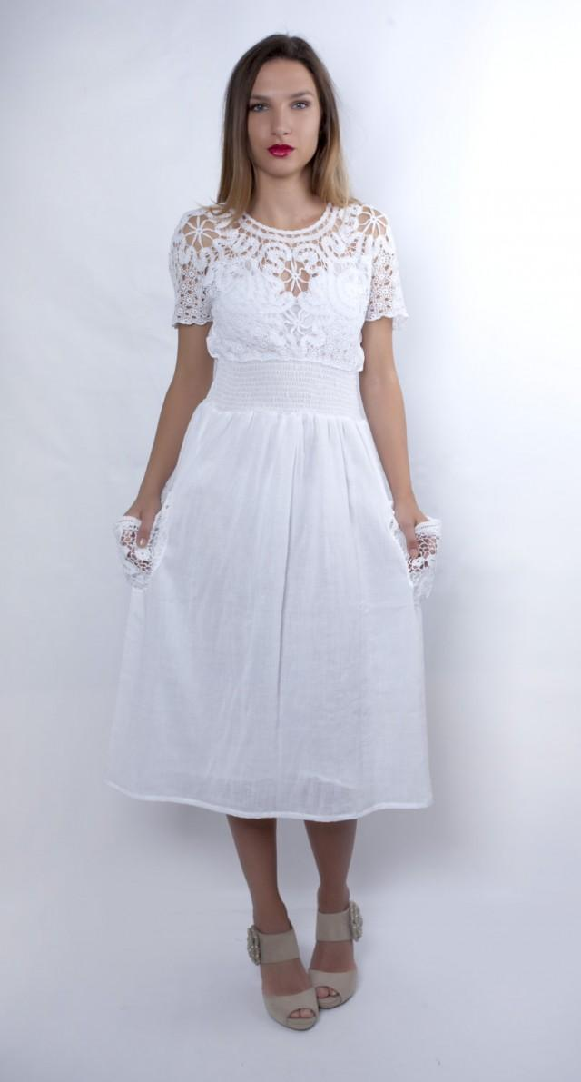 Plus Size Wedding Dress Cotton Wedding Dress White Dress