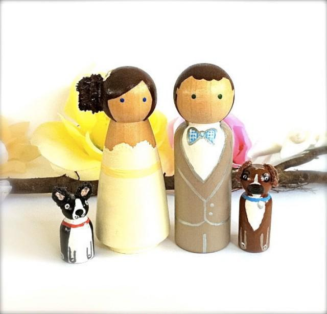 Wedding Cake Topper Custom Bride And Groom With 2 Pets Large ...