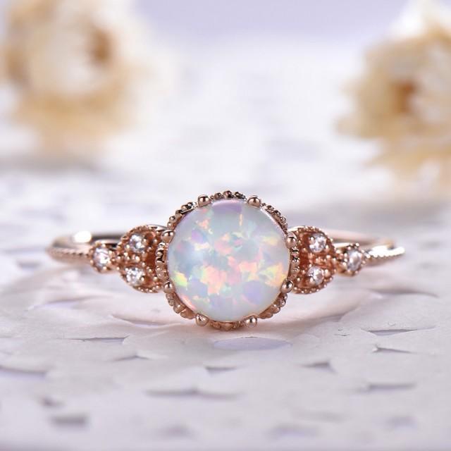 Opal Engagement Ring Rose Gold 14k 18k 925 Sterling Silver