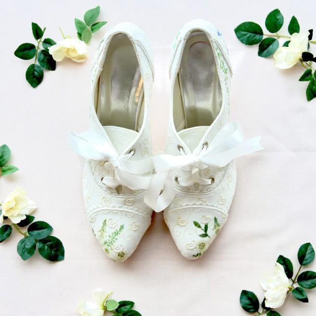 ffe63a1ba2bd6 Wildflower Floral Embroidered Hand-painted Custom Wedding Shoes ...