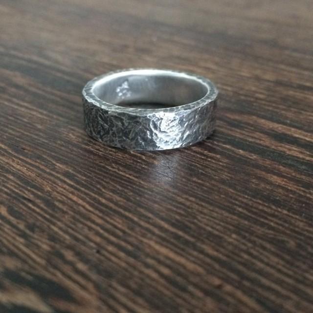 Mens Wedding Ring Oxidised