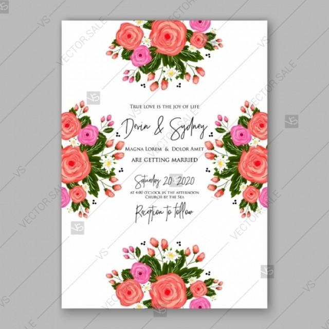 Pink Rose Peony Wedding Invitation Card Vector Download