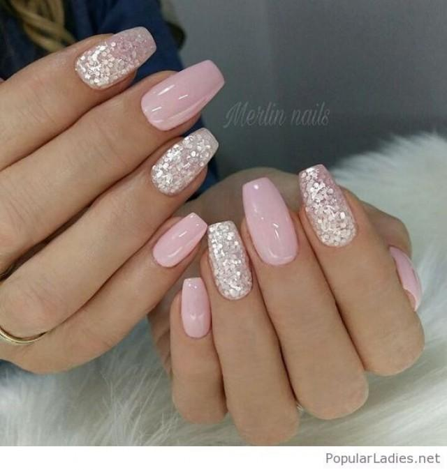 Nail Light Pink Gel Nails With Silver Glitter 2844921