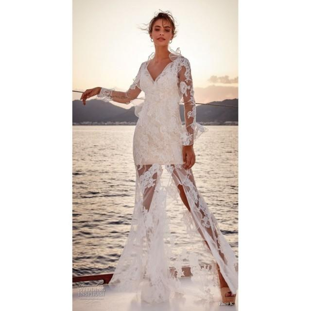 Eddy K 2019 Sweep Train Ivory Sexy Flare Sleeves Fit Flare V Neck
