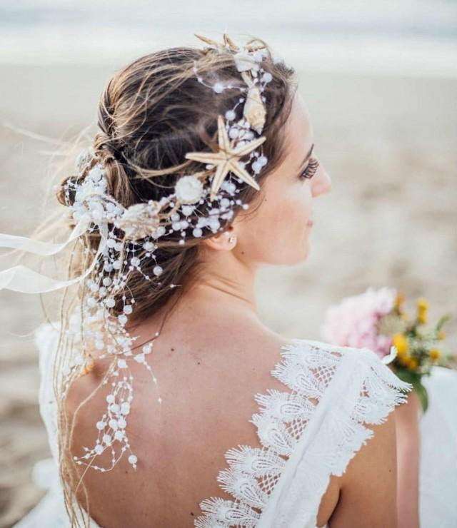 30 Beach Wedding Hairstyles Ideas Designs: Beach Wedding Starfish And Pearl Wired Hair Vine, Nautical