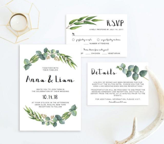 Garden Wedding Invitation Suite Template Download Nature