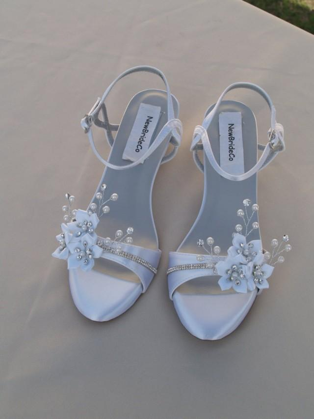 49ec22fcd6f Wedding Shoes Low Wedge 1 Inch Heel Flowers Crystals