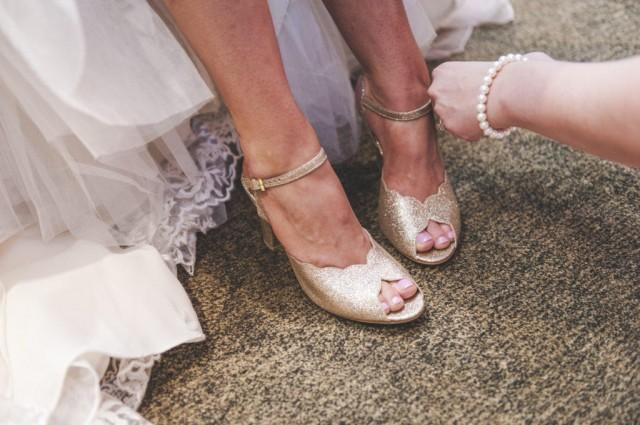 84865636c481a Adina Vegan Bridal Shoes, Sparkly Gold High Heel Wedding Sandal With ...