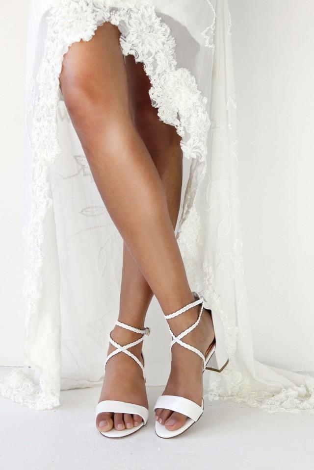 Ladies White Leather Block Heels Wedding Shoes Plaited Straps