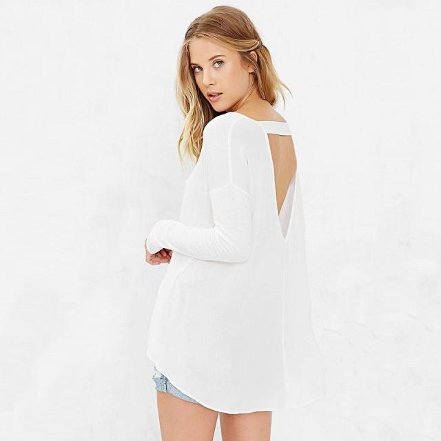 2de2feac31 Oversized Vogue Sexy Asymmetrical Low Cut Scoop Neck Long Sleeves Cotton  T-shirt Top - Bonny YZOZO Boutique Store  2883982 - Weddbook
