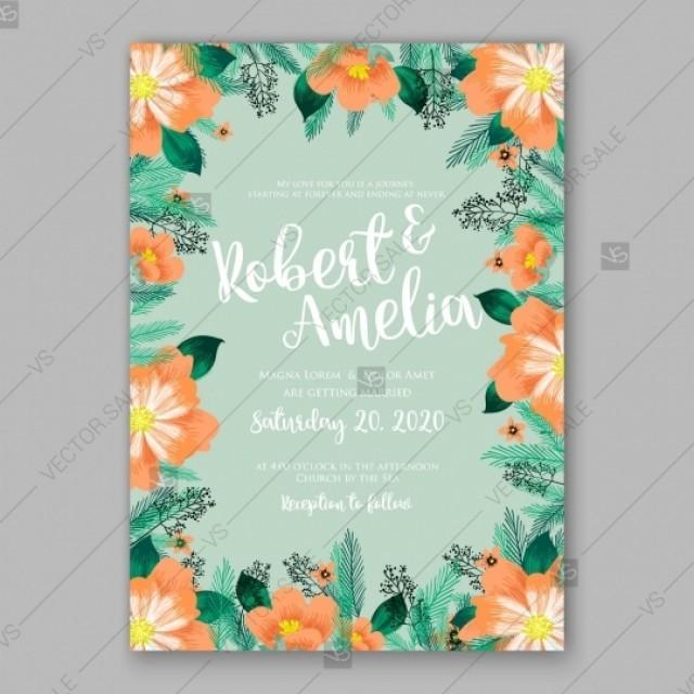 Orange Peony Wedding Invitation Fir Branch Sakura Anemone